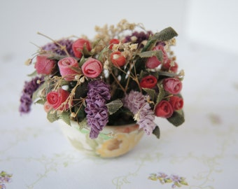 Silk Floral Arrangement Miniature, Dollhouses, Art & Collectibles