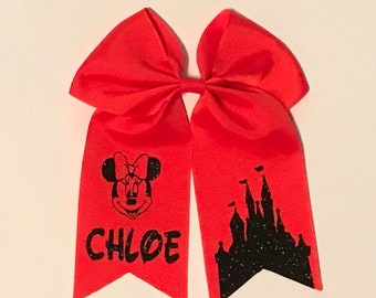 Personalized Minnie hair bow with castle