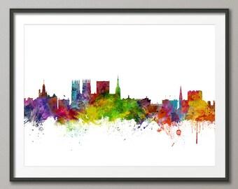 York Skyline, York England Cityscape Art Print (1013)