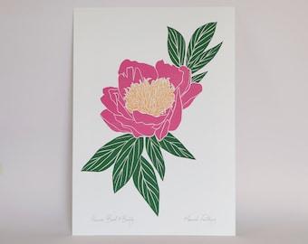Peony 'Bowl of Beauty' A3 Linocut Print