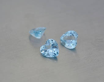 5 pieces sky blue topaz faceted heart shape gemstone