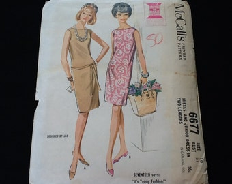 McCall's pattern 6677. Vintage 1962 misses' sleeveless, lined dress in two lengths. Size 10.