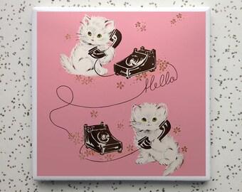 Kitten Telephone Tile Coaster