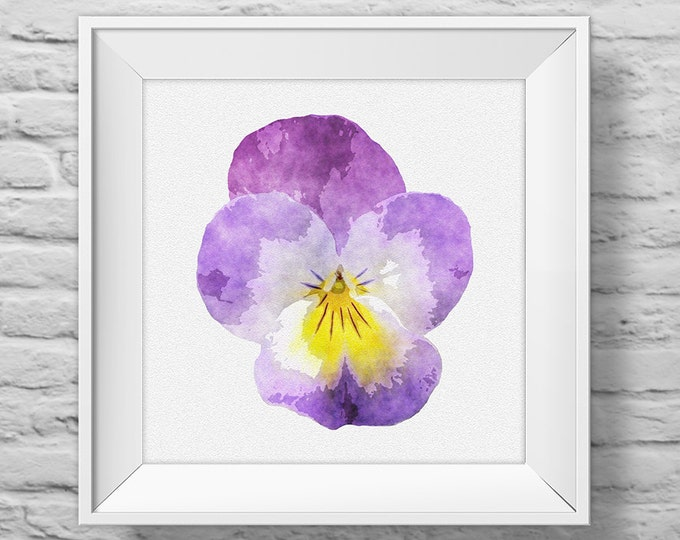 PANSY IN PURPLE - unframed square art print, inspirational, nature, floral, watercolor, photography, wall decor. (R&R0127)