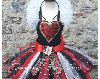 Queen of Hearts Tutu Dress. Lined Red, Black & White Hearts Gown With Collar. Handmade by Seraphina Fairy Tales. Short Length.