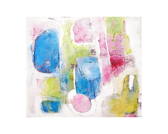 Freedom Has Wings. Abstract Print. Blue, Green, Pink, White