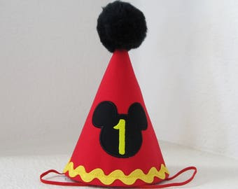First Birthday Outfit Boy Mickey Mouse Party Hat Cake Smash Outfit 1st Birthday Outfit Party Hat Cake Smash Cake Photoshoot Photoprop