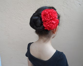 Spanish Flamenco Carnations Headpiece, Ballet Headpiece, Flower Headpiece Costume, Floral Bun Wrap, Spanish Hair Accessory