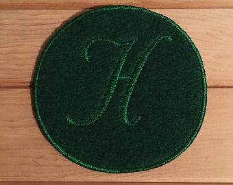 Green Iron-On Monogram, Embroidery Letter H