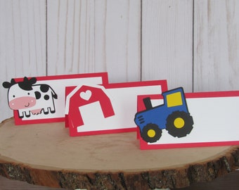 Tractor, Farm, Barn Birthday Party Place Cards, Farm Birthday Party. Barnyard Party. Tractor Place Cards. Tractor Food Cards