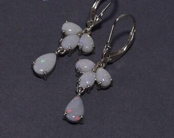 Australian Opal Earrings Wire Wrapped Handmade Earrings Sterling Silver Jewelry Gemstone Earrings