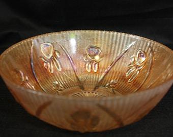 Vintage Amber Carnival Glass Bowl