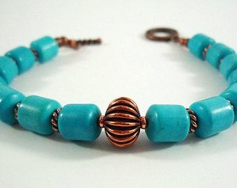 Turquoise Bracelet Turquoise Copper Bracelet Turquoise Gemstone Bracelet Turquoise Bead Bracelet Dark Teal Blue Turquoise Copper Bracelet