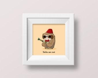 Sloth wall art, Sloth & Dr. Who mashup, Geronimo the geeky sloth, whovian gift