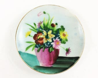 """Oftriart hand painted plate 4 inch miniature art floral flower bouquet France signed """"oftriart"""" hand painted porcelain"""
