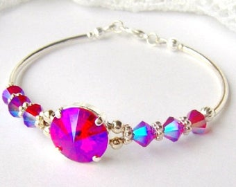 Hot pink rhinestone bracelet . Glacier blue . Mothers day . Swarovski crystal . Birthday gift . Gift for her . Girlfriend gift . Unique