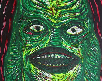 Creature from the Black Lagoon Multi Color woodblock print