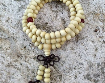 Sale~Beige Sandalwood Tibetan Buddhist Mala prayer beads