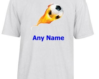 Personalised Flame Football T Shirt  *Choice of name colours*