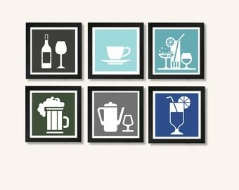 Kitchen art - kitchen wall art - wall art set - Kitchen Collection Wall Art - Kitchen Art - Set of 6 Prints
