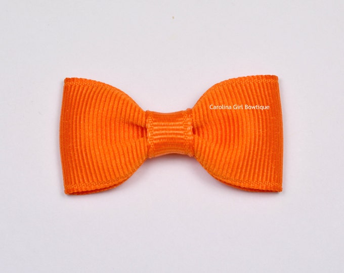 Orange Baby Hair Bow ~ 2 in. Bows with No Slip Grip ~ Small Hair Bows Newborns Toddler Girls