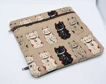 Double coin pocket cotton little cats Japanese good luck! Maneki neko