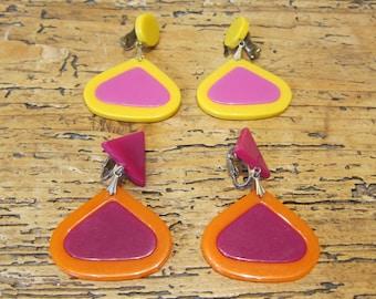 2 pair vintage drop earrings (sold separately), Austin Powers Mad Men era 1960s.