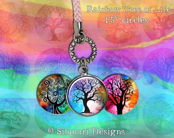 Digital Download - Rainbow Tree of Life - 1.5 inch (38.1mm) Round Printable images for jewellery, pendants, and magnets