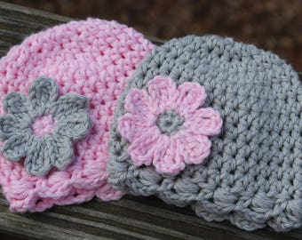 Crochet baby hat, Crochet twin baby hats, twin photo prop, preemie hat, baby girl twin hat, crochet baby twin set, Easter hat for baby