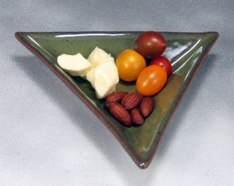 Green 6 Inch Triangle Ceramic Plate or Tray Hand Built Pottery Serving Dish or Tapas Dish Sushi Dish Salad Plate