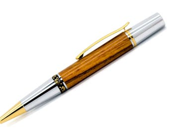 Elegant Beauty Ballpoint Pen | Desert Ironwood | Chrome and Gold