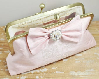 Pink Silk Dupioni Bow Clutch - Personalized Photo Lining - Bride - Mother of the Bride - Bridesmaid - Wedding