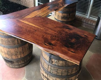 Bar Top   Using Jack Danielu0027s Whiskey Barrels (not Included   Additional ...