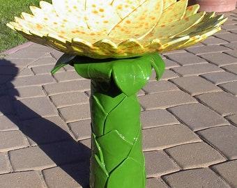 Handmade Sunflower Inspired Ceramic Bird Bath