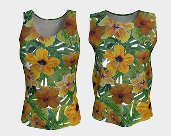HIBISCUS Tank Top XS-S-M-L-XL Fitted Loose Floral Flower Art Nature Orange Green Yellow Tee Top Women Teen Clothing Clothes Wearable Art