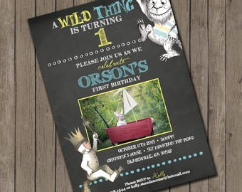 Where the Wild Things Are inspired Birthday invitations - 25 printed