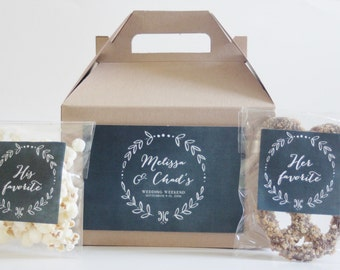 Set 10 Hotel Welcome Kits - Kraft Gable Box with Chalkboard and Laurel Design - His and Hers favorite Stickers