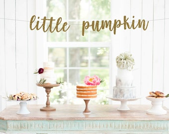little pumpkin banner, baby shower banner, fall baby, gold glitter party decorations, fall baby shower decor, fall baby shower banner