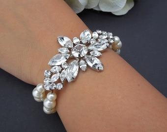 bridal ivory swarovski pearl and crystal Bracelet Statement Bridal Bracelet Bridal Cuff Wedding Rhinestone Bracelet swarovski crystal MEGYN