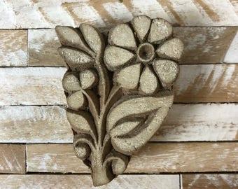 Vintage Wood Printing Block Stamp Made in India Floral/Flower Design (#1)