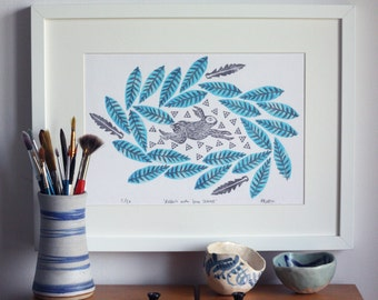 Rabbit print, limited edition, A4, leaves, nature print, wall art, home decor, art print, illustration, block printing