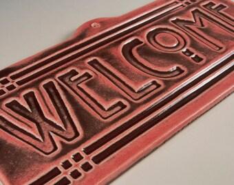 Welcome Tile - Arts & Crafts Mission Craftsman Style - Burnt Red Glaze