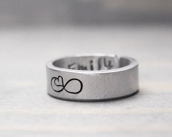 Custom Infinity Ring, Long Distance Relationship Ring, Personalized Ring, Personalized Gift Idea, Handstamped Jewelry