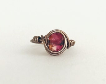 Handmade Wire Wrapped Silver Coated Ring Pink Stone Size 6