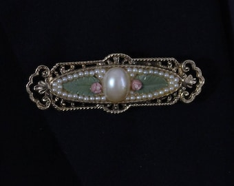 Vintage Bar Brooch, Vintage pearl and Enamel Bar Brooch, Mid Century Kitsch Jewelry