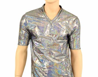 Mens Silver Holographic V Neck Top with Short Sleeves Mens Rave or Festival Shirt - 152375