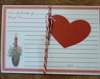 20 Recipe Cards Index File Red Kitchen Supply Lined Floral