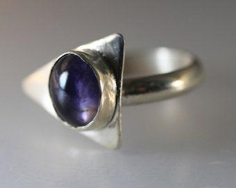 Asymmetrical Iolite Ring