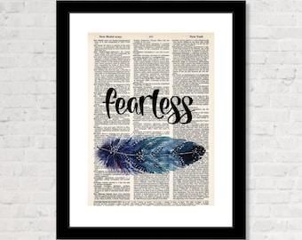 Fearless Print, Boho Art, Watercolor Feather Print,  Boho Decor, Modern Hippie, Dorm Art, Bohemian - Dictionary Art Print