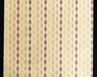 Light kraft leaf decorated - lines horizontal diamond various pastel colors